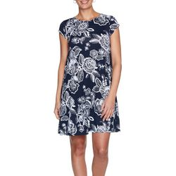 Ruby Road Petite Short Sleeve Floral Puff Print Dress