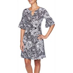 Ruby Road Favorites Petite Floral Keyhole Dress