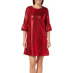 Ruby Road Favorites Petite Metallic Foil Shift Dress