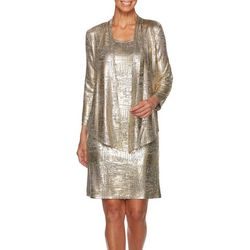 Ruby Road Favorites Petite Metallic Foil Jacket Dress