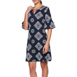 Ruby Road Favorites Petite Medallion Print Keyhole Dress