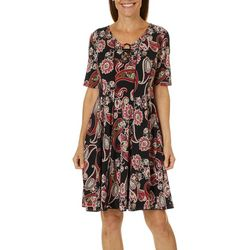 Sami & Jo Petite Paisley Puff Print Ring Neck Panel Dress