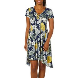 Sami & Jo Petite Tropical Floral Ring Neck Panel Dress