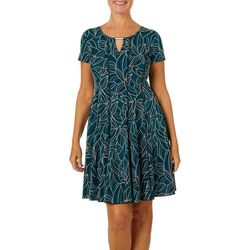 Sami & Jo Petite Keyhole Leaf Puff Print Panel Dress