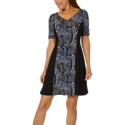 Sami & Jo Petite Paisley Print Lattice Neck Panel Dress