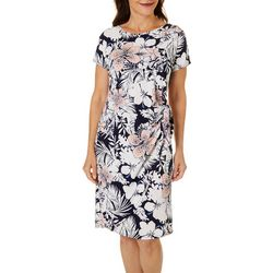 Petite Hibiscus Puff Print Faux Wrap Dress
