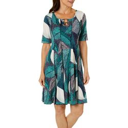 Sami & Jo Petite Ring Neck Palm Puff Print Panel Dress