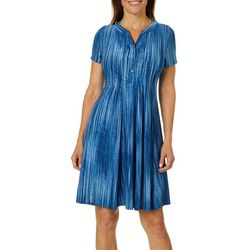 Sami & Jo Petite Stripe Textured Scroll Henley Fiesta Dress