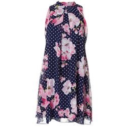 Robbie Bee Womens Floral Dot Print High Neck Swing Dress