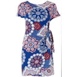 Robbie Bee Petite Printed Textured Side Tie Dress