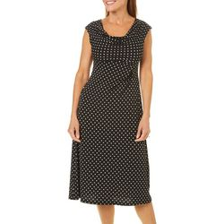 Connected Apparel Petite Polka Dot Drape Neck Dress