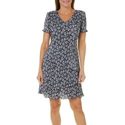 Connected Apparel Petite Floral Bodre Tiered Dress