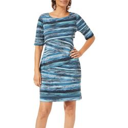 Connected Apparel Petite Scratched Stripe Tiered Dress