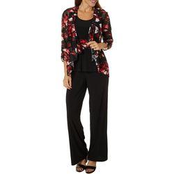 Perceptions Petite 3-pc. Floral Lace Pant Suit