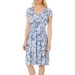 Perceptions Petite Swirl Puff Print Dress