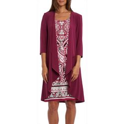 R & M Richards Petite 2-pc. Cardigan & Paisley Print Dress
