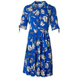 Sandra Darren Petite Floral Collared Button Down Dress