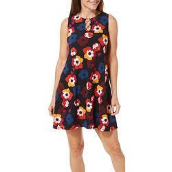 MSK Petite Blooming Floral Print Ring Neck Sleeveless Dress