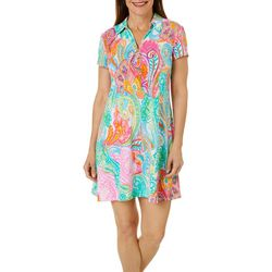 MSK Petite Colorful Paisley Print Zip Neck Swing