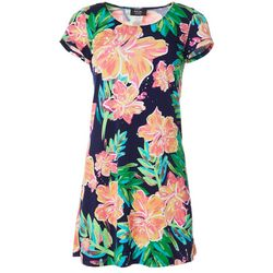 Petite Short Sleeve Floral Puff Print Dress
