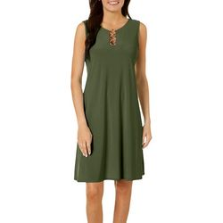 MSK Petite Three Ring Sleeveless Dress