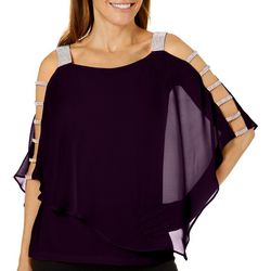 MSK Petite Glitzy Embellished Caged Poncho Top