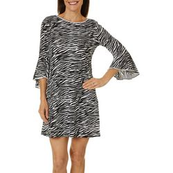 MSK Petite Zebra Print Embellished Bell Sleeve Dress