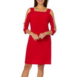MSK Petite Embellished Cold Shoulder Shift Dress