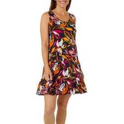 MSK Petite Colorful Floral Print Ruffle Tier Sundress