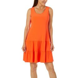 MSK Womens Solid Ruffle Tier Sundress