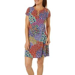 Petite Mixed Print Ring Neck Swing Dress