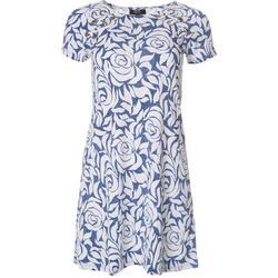 Petite Floral Print Grommet Swing Dress