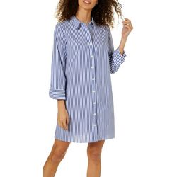 MSK Petite Pin Striped Ring Back Shirtdress