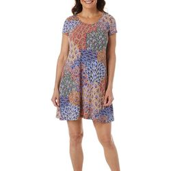MSK Petite Short Sleeve Peacock Puff Print Dress