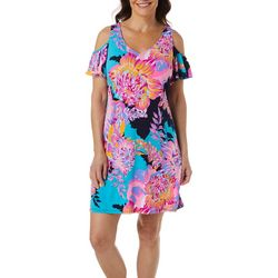 MSK Petite Floral Print Cold Shoulder Dress