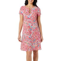 Petite Paisley Ring Neck Short Sleeve Swing Dress