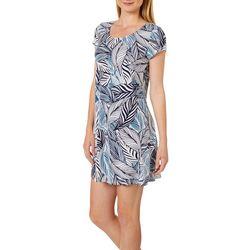 MSK Petite Tropical Palm Leaf Puff Print Dress