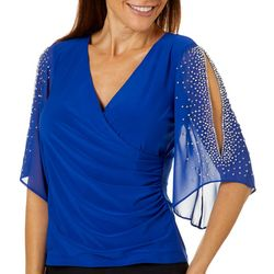MSK Womens Bling Sleeve Wrap Top