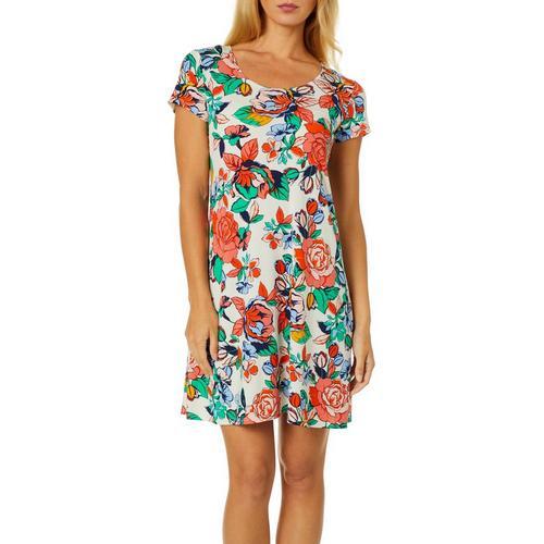 Msk Petite Floral Rose Print Swing Dress