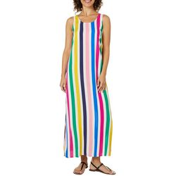 MSK Petite Vertical Stripe Sleeveless Maxi Dress