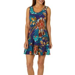 MSK Petite Tropical Floral Ruffle Hem Sleeveless Sundress