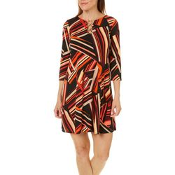 MSK Petite Abstract Stripes Ring Neck Dress