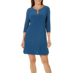 MSK Petite Solid Ring Neck Dress
