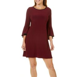 MSK Petite Contrast Trim Bell Sleeve Dress