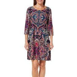 MSK Petite Split Sleeve Scroll Print Dress