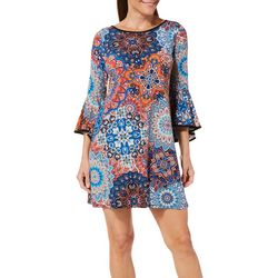 MSK Petite Medallion Print Bell Sleeve Dress