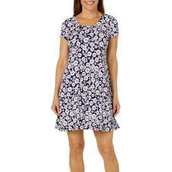 MSK Petite Daisy Puff Print T-Shirt Dress