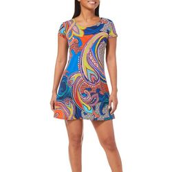 MSK Petite Abstract Paisley Shift Dress