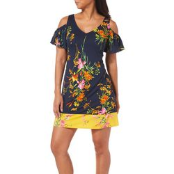 MSK Petite Garden Print Cold Shoulder Dress