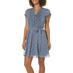 MSK Petite Belted Floral Print Dress